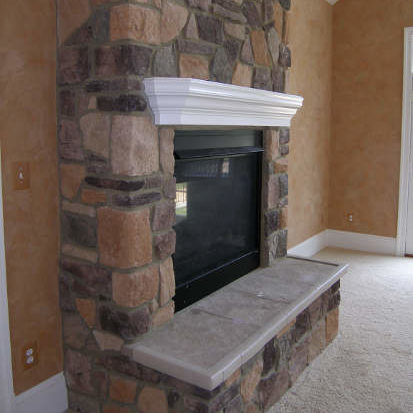 side of fireplace